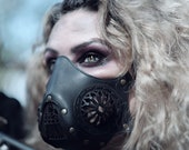 Leather mask Post apocalyptic Steampunk Cyberpunk Leather  in color Black for Halloween or Larp