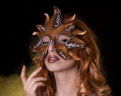 Gold sun goddess leather mask for Halloween or Samhain, masquerade masks women, Vampire the masquerade