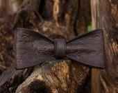 Steampunk bowtie handmade with leather. Wedding bowtie.