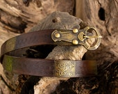 Viking leather belt. Nordic belt for a Larp or Cosplay. Historical belt in brown or red