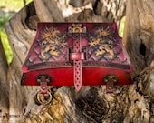 Medieval larp Bag. PREMIUM red belt pouch for Cosplay, costume, steampunk or reenactment