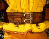 Brown medieval leather belt for larp. Basic accesorry inspired in witcher. The Witcher belt