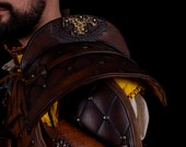 Larp Shoulder armor leather, Brown medieval armor for witcher cosplay, medieval costume...