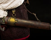 Leather scabbard brown for latex sword for reenactment. Perfect for LARP or cosplay