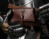 Larp Medieval bag Brown belt pouch. Vintage Bag for Cosplay costume, steampunk, larp or medieval reenactment