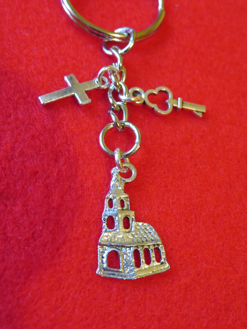 Unique unusual gift for a religious friend or family member! hand-made CHURCH lover/'s keyringhandbag charm.. lovely