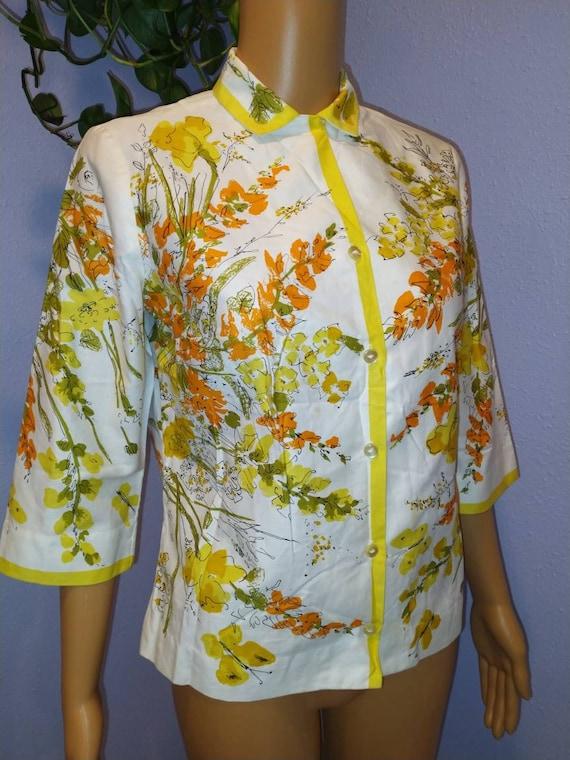 1960s Vera blouse Mid Century Mod Peter Pan colla… - image 1