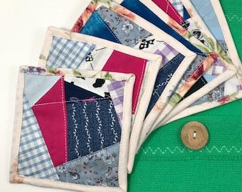 Fabric Mug Rugs - 6 Pk of Coasters / Blue, Purple and Pink