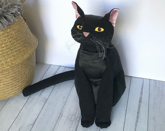 Animal Doorstop / Black Cat Statue / Halloween Decor