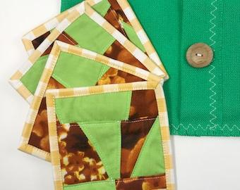 Fabric Mug Rugs - 4 Pk of Coasters  / Orange, Green and Yellow
