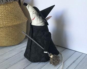 Witch Dormouse Doorstop, Halloween Decor Doorstopper