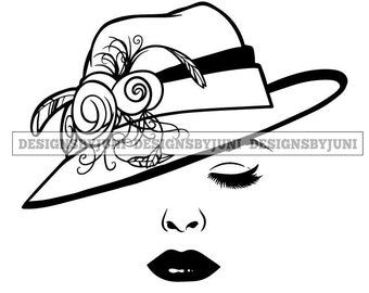 Silhouette Woman Hat Style Classic Fashion Headwear Diva Glamour Fabulous SVG PNG JPG  Vector Clipart Circuit Cut Cutting
