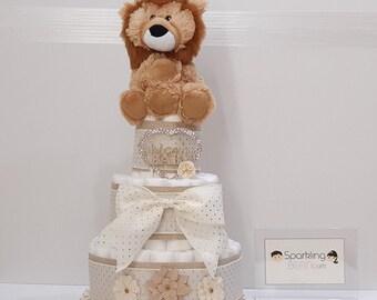 Baby Lion Diaper Cake, Any Genders Diaper Cake