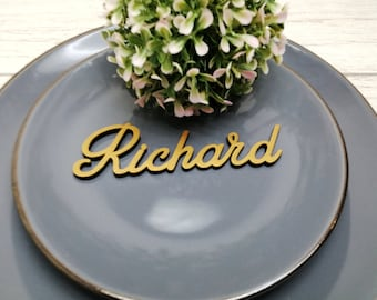 Gold Wedding Place Cards - Personalized Laser Cut Names