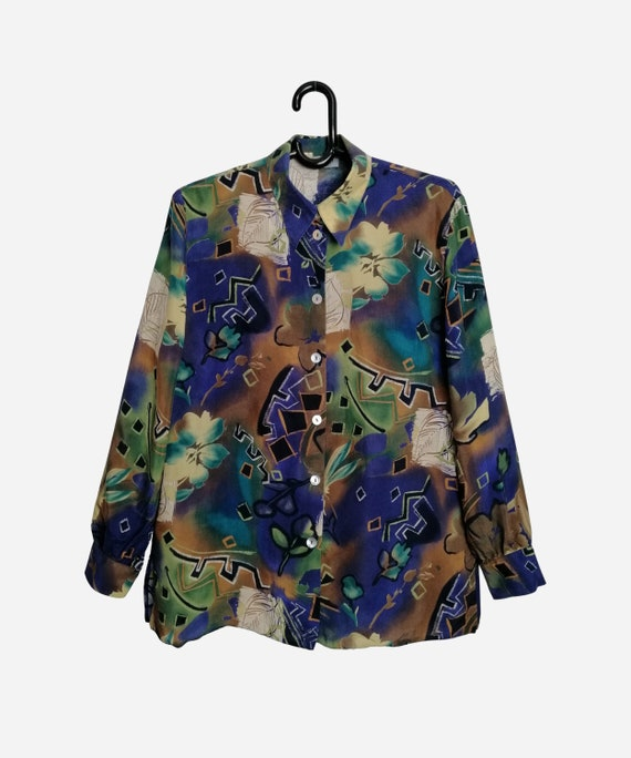 Vintage 80/'s Black Pink Yellow Floral Abstract Print Shirt Collared Long Sleeve