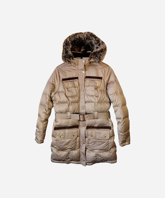 BARBOUR Womens Down Puffer Jacket Beige Warm Arcti
