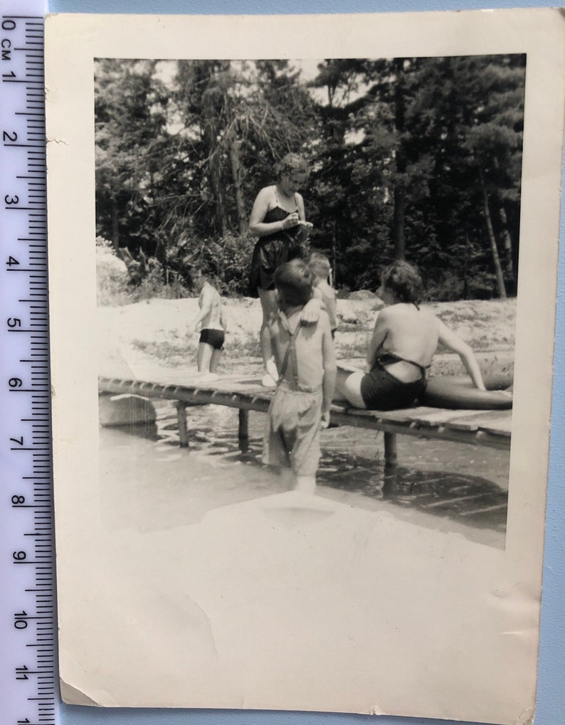 Vintage Beach Family Photographs Swimming Sand Pier Ice Cream Couples Children Social History Collectable Art Fashion Photo Collection #053