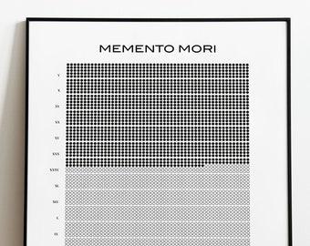 Memento Mori, Life Calendar, Stoicism, Stoic Reflection, Marcus Aurelius, Stoic Poster, Seneca, Stoic Art, Instant Download.
