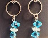 Double light blue bi cone and crystal disc on a stainless steel hoop dangle earrings, modern earrings, Sheris Jewels