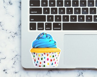Blue Cupcake Waterproof Sticker, Matte-Laura Kayli Art
