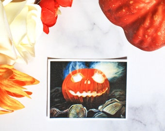 Jack O' Lantern Halloween Waterproof Sticker, Matte -Laura Kayli Art