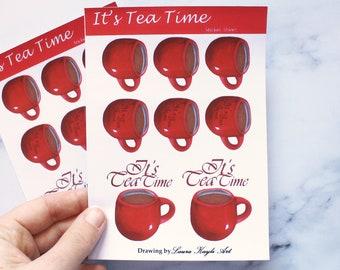 Tea Time, Tea Cup Planner Sticker Sheet, Matte -Laura Kayli Art