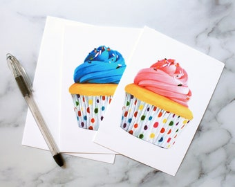 Pink and Blue Cupcake Birthday Cards - Artist Print Card- Laura Kayli Art