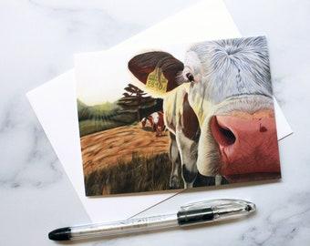 Cow Greeting Card - Artist Print Card- Laura Kayli Art