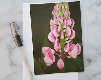 Lupine Flower Greeting Card - Artist Print Card- Laura Kayli Art