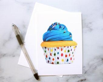 Blue Cupcake Birthday Card-Gift Card- Artist Print- Laura Kayli Art