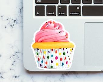 Pink Cupcake Waterproof Sticker, Matte-Laura Kayli Art
