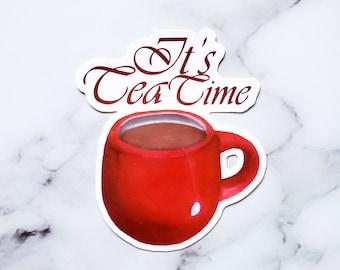 Tea Time, Tea Cup, Waterproof Sticker, Glossy-Laura Kayli Art