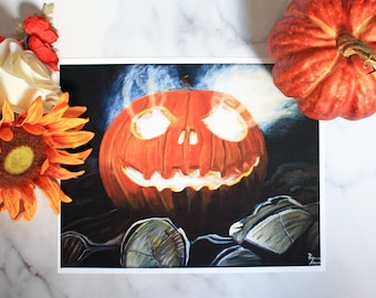 Jack O' Lantern Halloween Artist Print -Laura Kayli Art