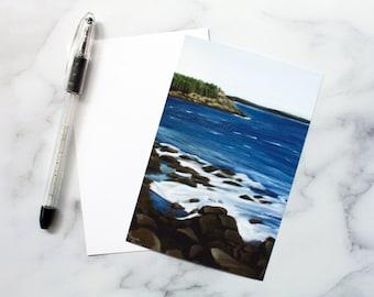 Maine Seascape Flat Note Card - Laura Kayli Art