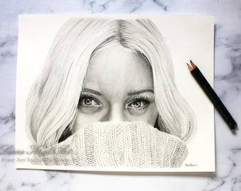 "Original Drawing ""Cozy Sweater"" Home Décor -Laura Kayli Art"