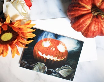 Jack O' Lantern Halloween Greeting Card - Artist Print Card- Laura Kayli Art