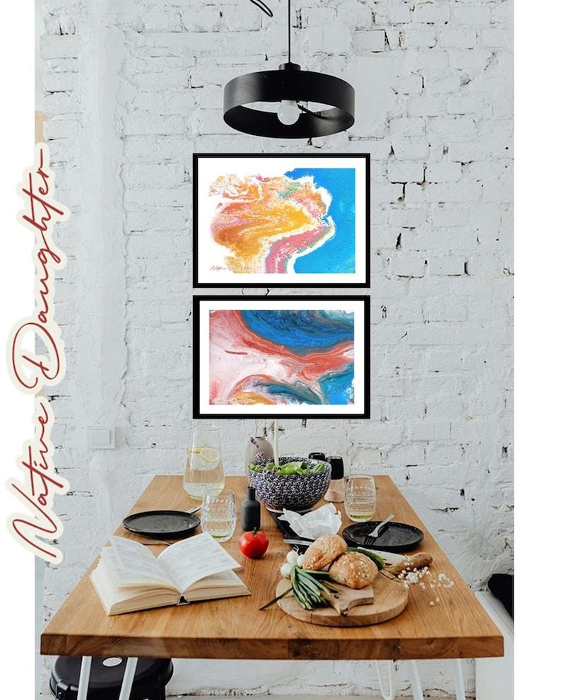 Ocean Floor A4 size Digital Download printable art abstract wall art fluid art print acrylic pour art print wall d\u00e9cor 3 piece wall art