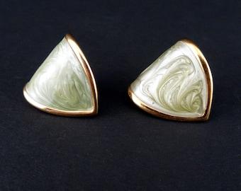 Item 95 ER Monet Silver and Gold Tone Dangle Post Earrings