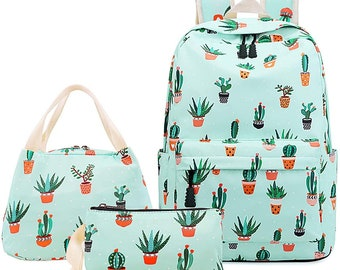 Cactus Pink Plants Shoulder Backpack Messenger Crossbody Laptop Bag Student Bookbags for Kid Girls Boys