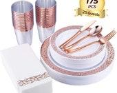 1175pcs Rose Gold Plastic Plates, Rose Gold Cups Paper Hand Napkins, Includes 25 Forks, 25 Spoons, 25 Knives, 25 Dinner Plates, 25 Dessert