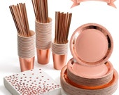 250 Pieces Rose Gold Party Supplies,Foil Paper plates and Napkins Cups Straws Sets50 for Bridal Shower, Birthday, Parties,