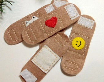 Felt band aids, Toy band aids, Doctor play set, Kids doctor kit, Doctor set toy, Pretend play doctor