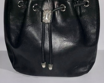 VTG Fossil Leather Bucket Bag With Western Style Buckle And Pull Draw Strings
