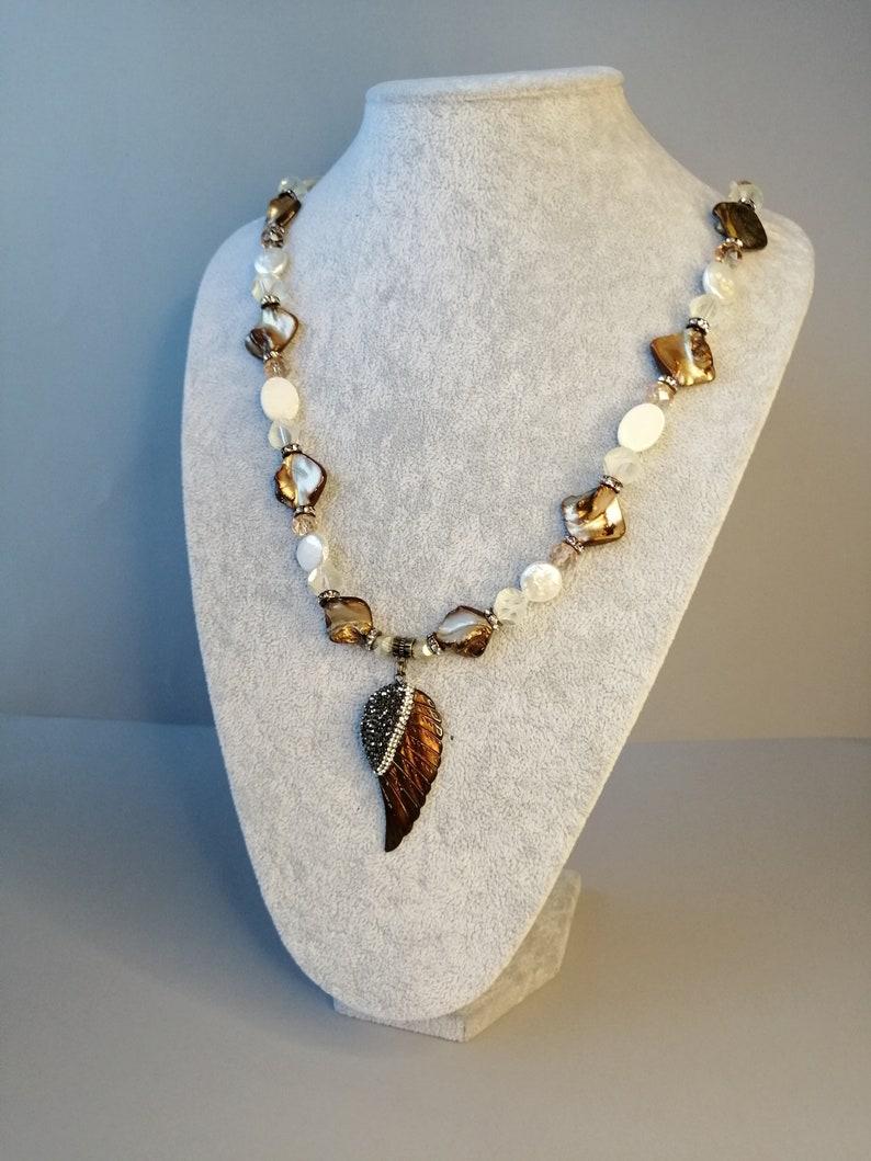 Gemstone beaded necklace Angel wing pearl necklace Coin Pearl/& Quartz and Crystal necklace carved Sea shell angel wing rhinestone pendant