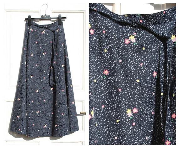 Vintage Maxi Skirt • Dark Blue Floral Skirt • 80s