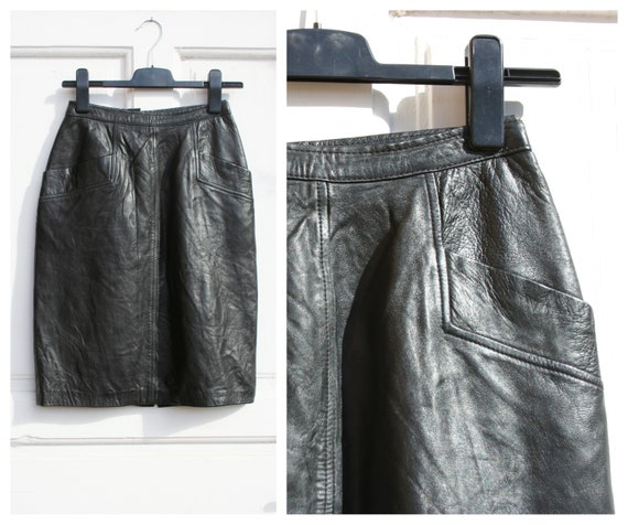 Vintage Black Leather Skirt S • Vintage Straight S