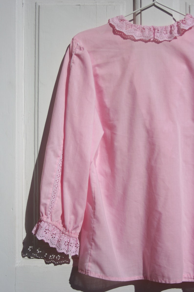 Vintage Victorian Blouse L \u2022 Lacy Pink Frilled Shirt for Women \u2022 Pastel Baby Pink Ruffle Blouse Romantic Drindl Clothing Austria Boho Frilly