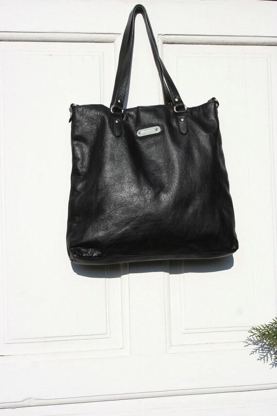 Leather Tote Bag • Black Leather Bag • Italian Lea