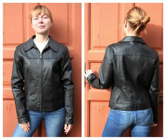 Black Leather Jacket Women M • Vintage Leather Jac