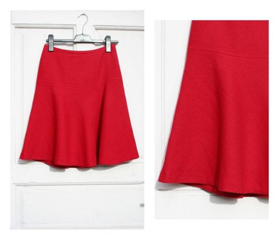 Red Wool Skirt M • Vintage Red Skirt • 90s Skirt •